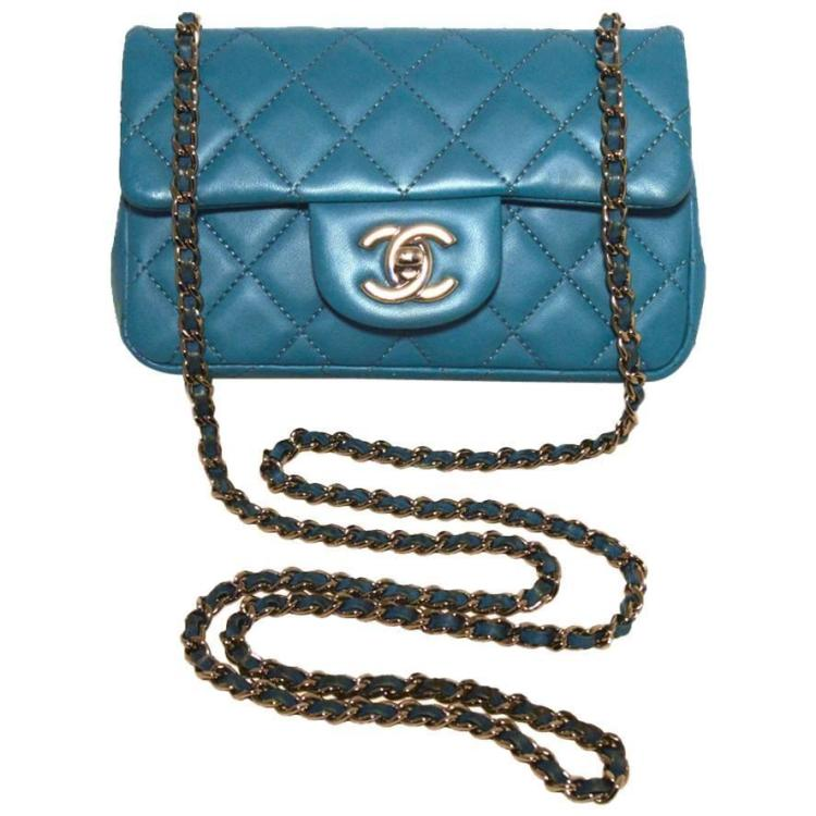 Chanel Teal Leather Extra Mini Classic Flap Shoulder Bag