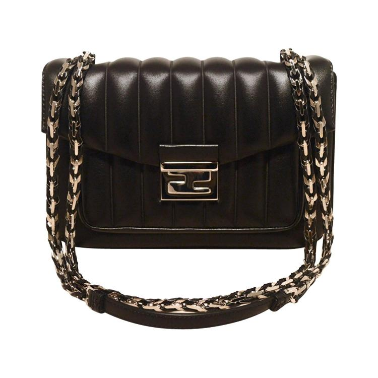 Fendi Black Stripe Quilted Leather Classic Flap Shoulder Bag