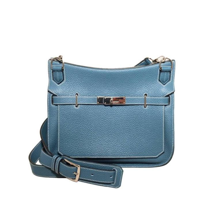 Hermes Blue Jean Clemence Leather Jypsiere 26 Shoulder Bag