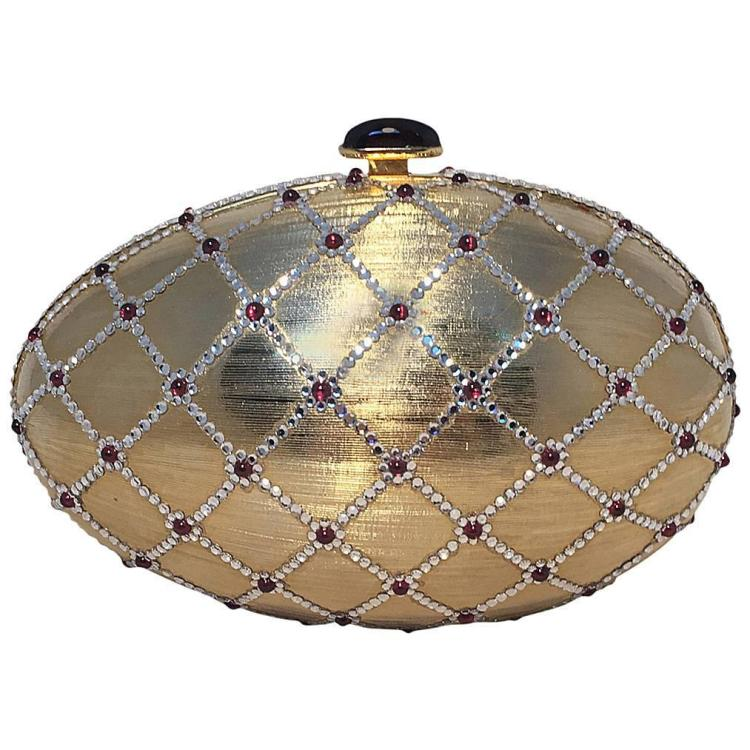 Judith Leiber Swarovski Crystal Gold Egg Minaudiere