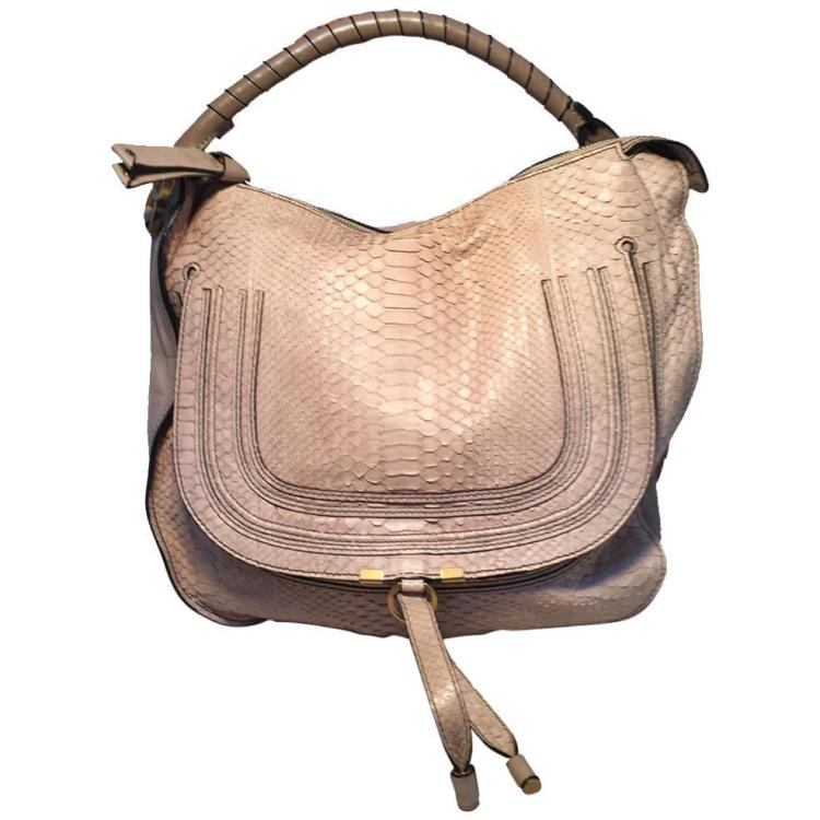 Limited Edition Chloe Neutral Beige Snakeskin Shoulder Bag