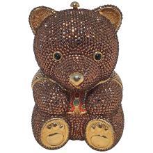 Judith Leiber Swarovksi Crystal Brown Teddy Bear Minaudiere