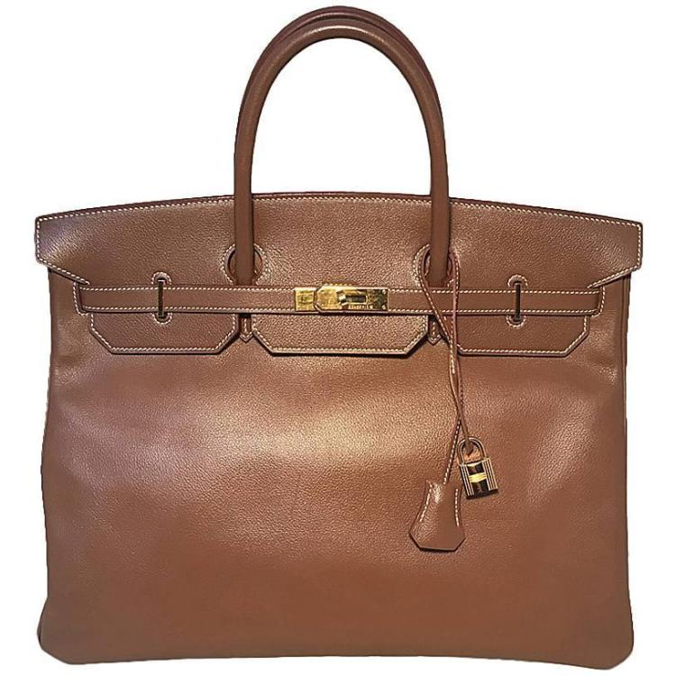 GORGEOUS Hermes Tan Gold 40cm Veau Graine Leather Birkin Bag