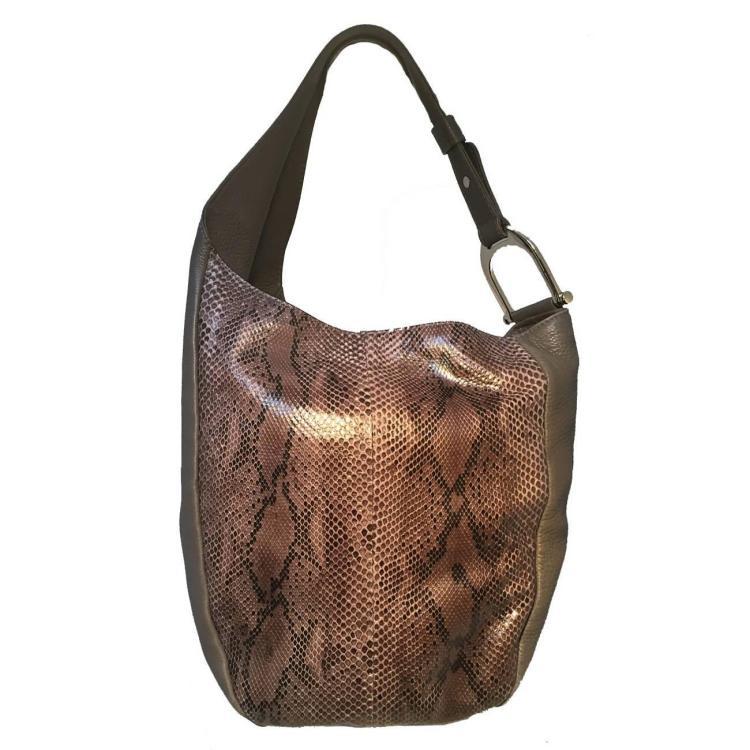 Gucci Grey Leather and Snakeskin Hobo Shoulder Bag
