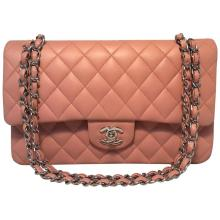 CHANEL Nude Pink Lambskin Double Flap Classic 2.55 Shoulder Bag