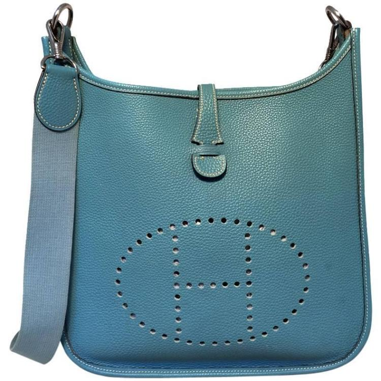 Hermes Blue Jean Togo Leather Evelyn PM I