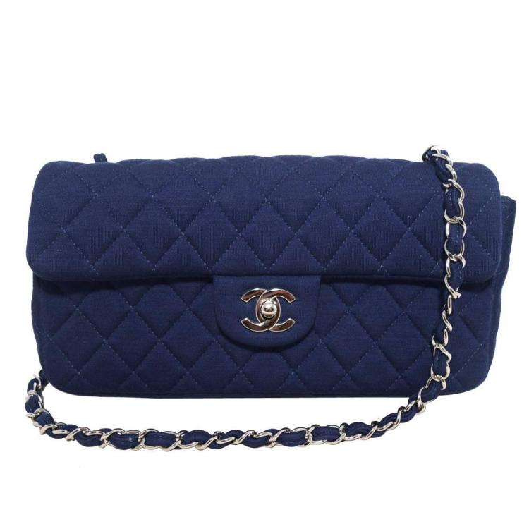 CHANEL Navy Quilted Cotton Classic Flap Shoulder Bag