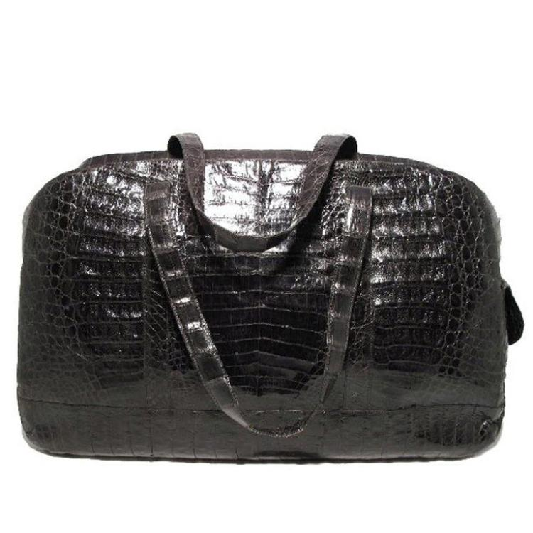 Nancy Gonzalez Black Crocodile Travel Bag Tote