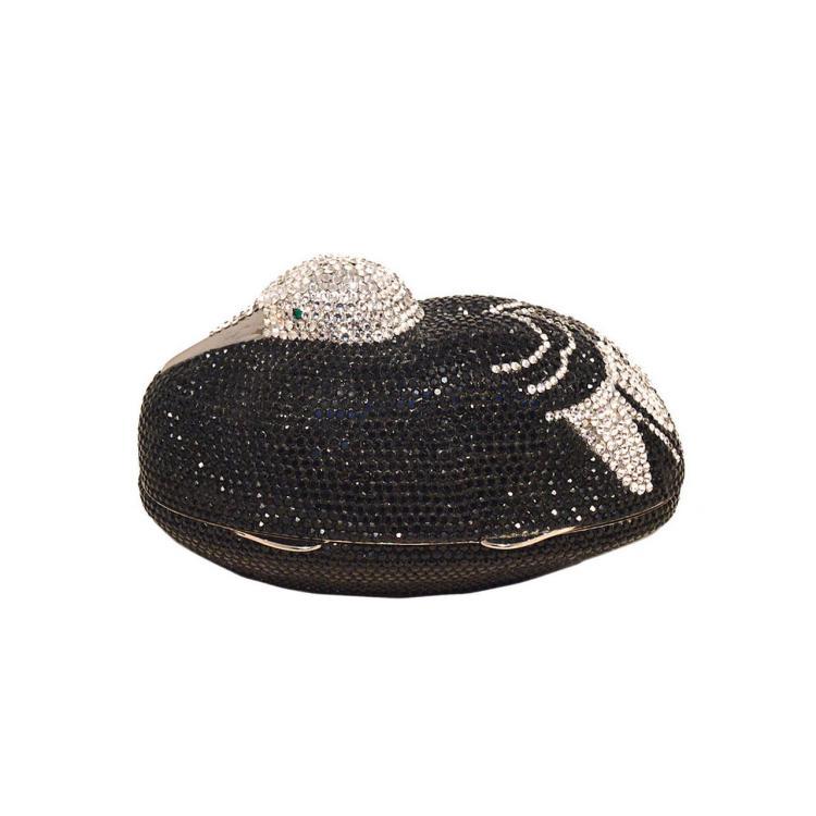 Judith Leiber Black & Silver Swarovski Crystal Sitting Duck Minaudiere
