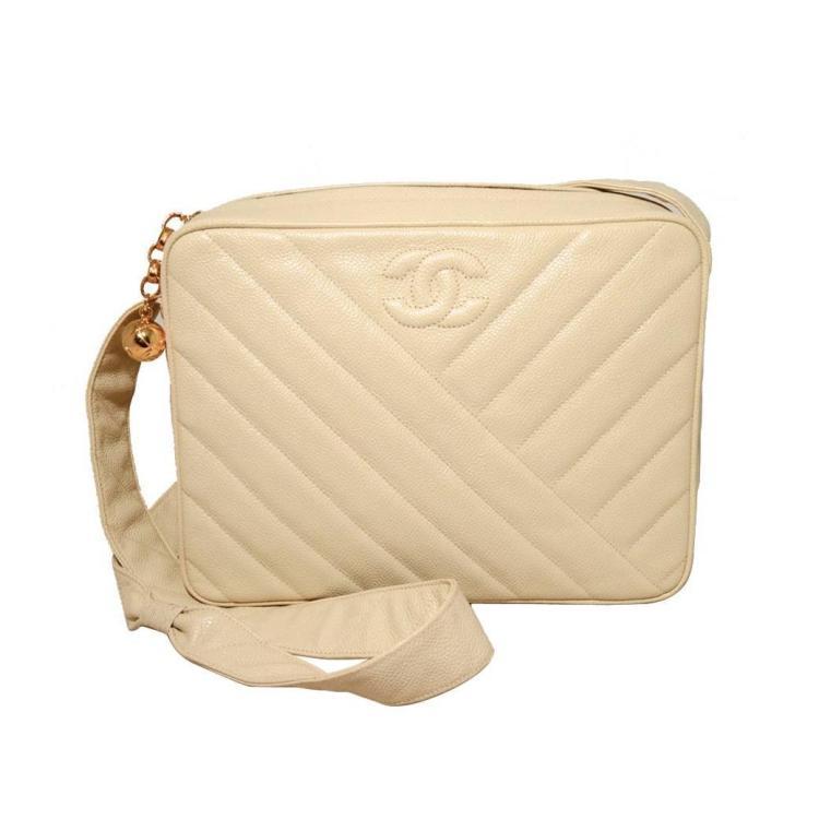 Chanel Vintage Cream Caviar Quilted Shoulder Bag