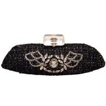 Chanel Black and White Tweed Rhinestone Perfume Bottle Clutch