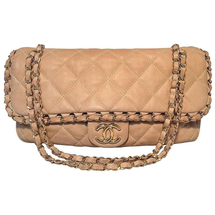Chanel Tan Leather Chain Trim Classic Flap Shoulder Bag