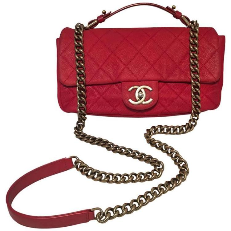 Chanel Red Nubuck Caviar Leather Classic Flap Shoulder Bag