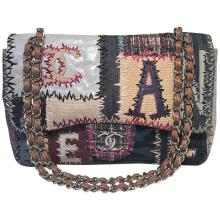 Chanel Patchwork Denim Tweed and Leather Jumbo Classic Flap Shoulder Bag
