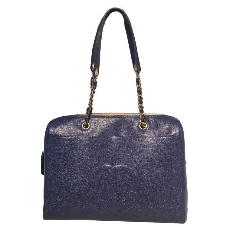 Chanel Royal Blue Caviar Leather Shoulder Bag Tote