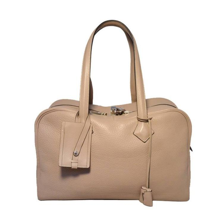 Hermes Taupe Clemence Leather Victoria II 35cm Travel Tote Bag