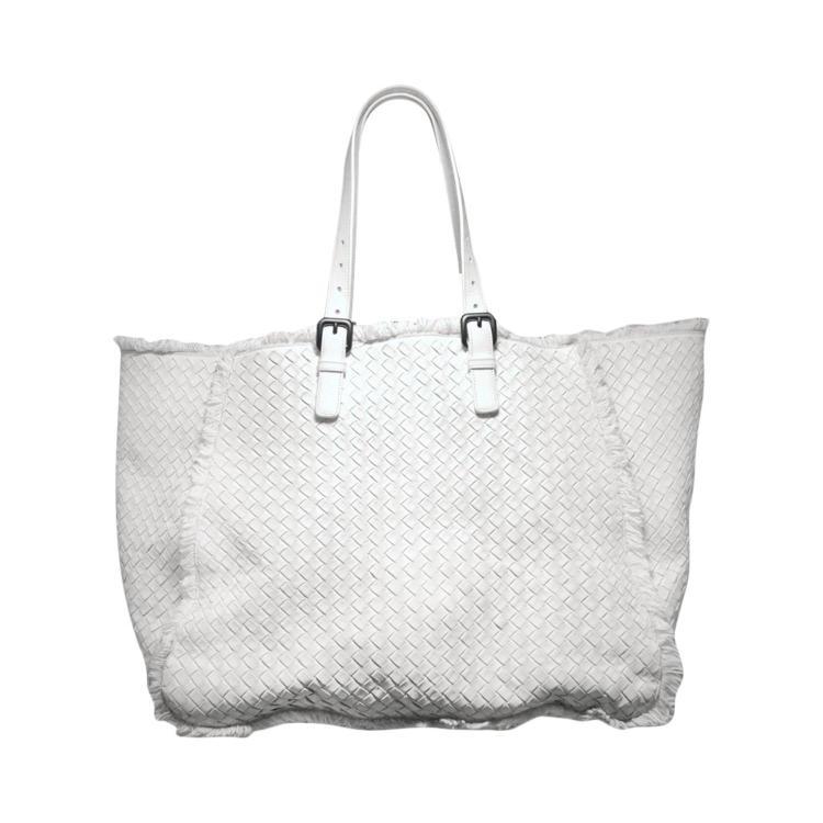 Bottega Veneta RARE White Woven Leather Fringe Trim Tote Bag