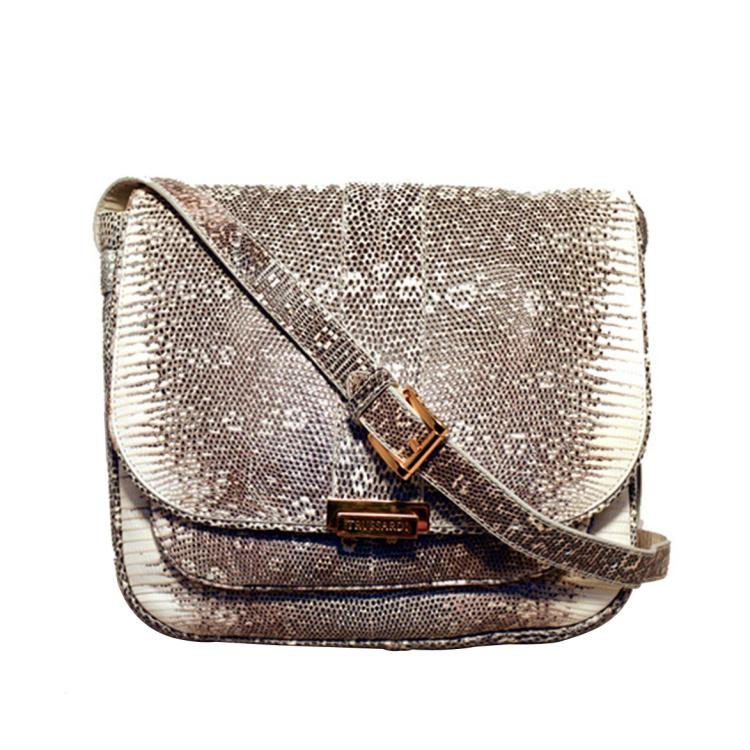 Trussardi Grey & White Ring Lizard Messenger Shoulder Bag