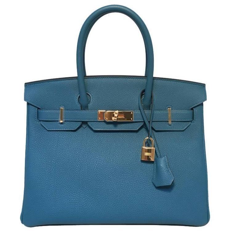 NEW 2016 Hermes Colvert Blue 30cm Togo Birkin Bag