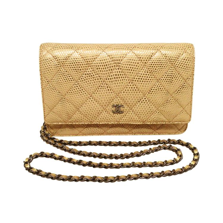 Fabulous Chanel Gold Lizard Classic Wallet on a Chain WOC Rare