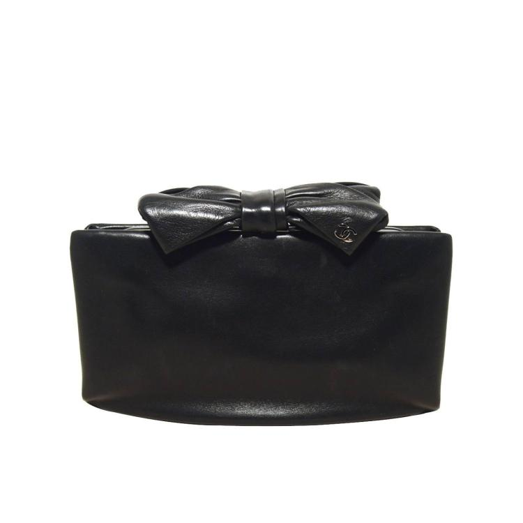 Chanel Black Lambskin Bow Top Clutch