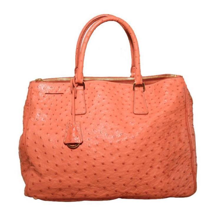 Gorgeous Prada Peach Coral Ostrich Leather Tote Bag