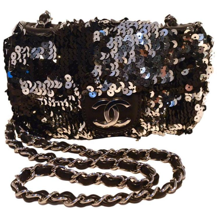 Chanel Black & Silver Sequin Mini Classic Flap Shoulder Bag