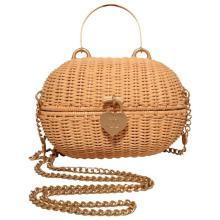 Chanel Tan Wicker Rattan Shoulder Bag