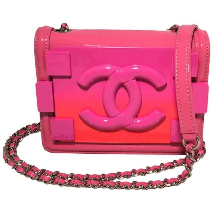Chanel Pink Patent Leather Ombre Logo Mini Classic Flap Le Boy Bag