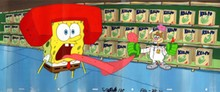 MASTER GRADE SPONGEBOB SQUAREPANTS PRODUCTION CEL AND PRODUCTION BACKGROUND FROM THE FIRST YEAR 1999 . THIS IS A HUGE PAN BACKGROUND AND AS YOU CAN SEE IT IS AS WIDE AS TWO FULL CELS. THIS IS FROM THE EPISODE KARATE CHOPPERS