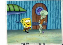 MUSEUM  GRADE SPONGEBOB SQUAREPANTS PRODUCTION CEL AND PRODUCTION BACKGROUND FROM THE FIRST YEAR 1999  FEATURING A  CELS OF SPONGEBOB AND SQUIDWARD FROM THE EPISODE NAUGHTY NAUTICAL NEIGHBORS