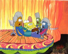 ORIGINAL HAND PAINTED SPONGEBOB PRODUCTION CEL OF SPONGEBOB AND FISH AND PRINT BACKGROUND FROM