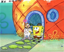 MASTER GRADE SPONGEBOB SQUAREPANTS PRODUCTION CEL AND PRODUCTION BACKGROUND FROM THE FIRST YEAR 1999 FROM THE EPISODE KARATE CHOPPERS