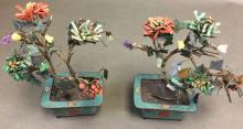 Pair of Jade Trees in Cloisonne Enamel Pots