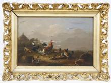 "Franz Van Severdonck Oil on Wood Panel ""Chickens Feeding"""