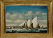 """Salvatore Colacicco Oil on Panel """"Portrait of the Schooner """"Felicity"""" Entering Nantucket Harbor"""""""