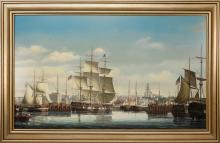 """Salvatore Colacicco Oil on Wood Panel """"Nantucket in 1845"""""""