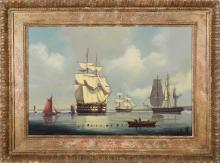 """Salvatore Colacicco Oil """"Man-o-War Anchored at Portsmouth Harbor"""""""