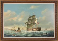 Salvatore Colacicco Oil on Wood Panel of a British Man-o-War Entering Port