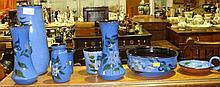 Torquay ware blue ground bird vases etc (8 pieces)