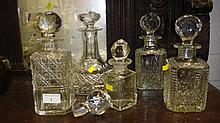 Selection of cut and other glass decanters