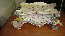 Meissen floral encrusted stand decorated with