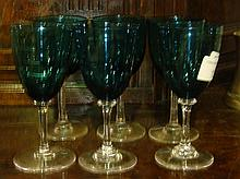 Set of 6 green glass wine glasses