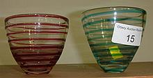Pair of Powell style swirl decorated glasses