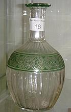 Baccarat clear and green glass decanter (stopper