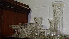 Cut glassware including thistle shaped vase and