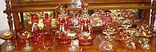 Large collection of cranberry glass including