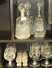 Silver metal rimmed decanter, two others and other