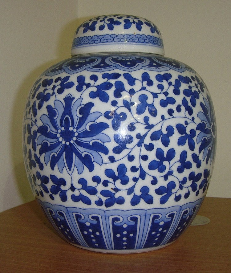 Chinese Blue and white ginger jar and cover