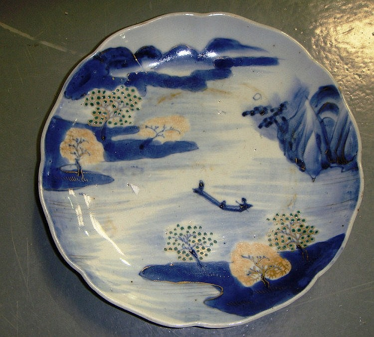 18th century Chinese blue and white dish painted